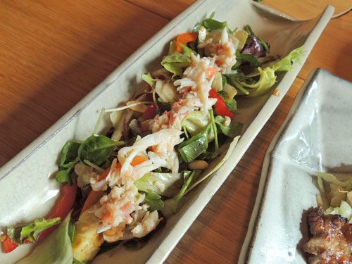 ざくろのお好み和定食、たらばガニと23品目野菜サラダ